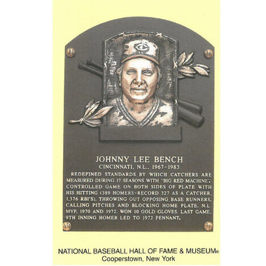 Johnny Bench Baseball Hall of Fame Plaque Postcard