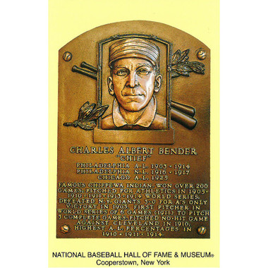 Chief Bender Baseball Hall of Fame Plaque Postcard