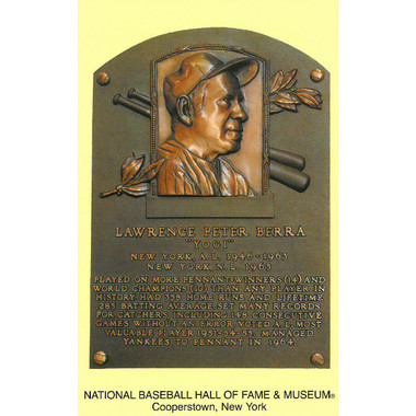 Yogi Berra Baseball Hall of Fame Plaque Postcard