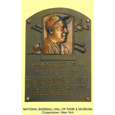 Yogi Berra Baseball Hall of Fame Plaque Postcard