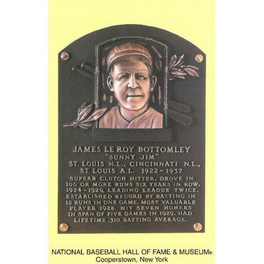 Jim Bottomley Baseball Hall of Fame Plaque Postcard