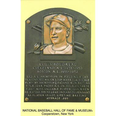 Lou Boudreau Baseball Hall of Fame Plaque Postcard