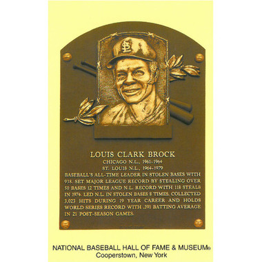Louis Brock Baseball Hall of Fame Plaque Postcard