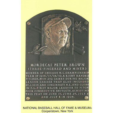Mordecai Brown Baseball Hall of Fame Plaque Postcard