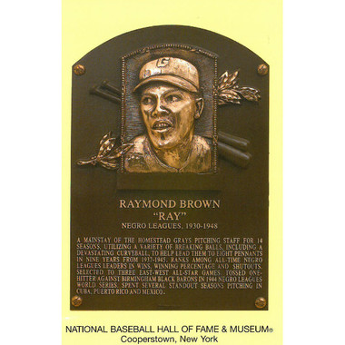 Ray Brown Baseball Hall of Fame Plaque Postcard
