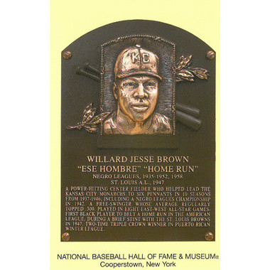 Willard Brown Baseball Hall of Fame Plaque Postcard