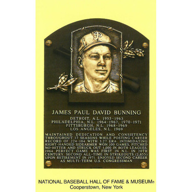 Jim Bunning Baseball Hall of Fame Plaque Postcard