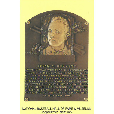 Jesse Burkett Baseball Hall of Fame Plaque Postcard