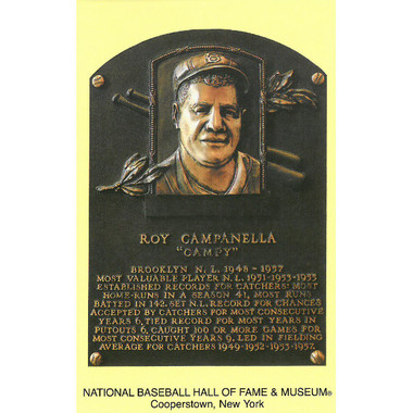 Roy Campanella Baseball Hall of Fame Plaque Postcard