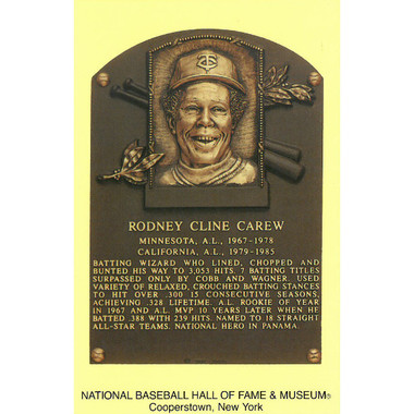 Rod Carew Baseball Hall of Fame Plaque Postcard