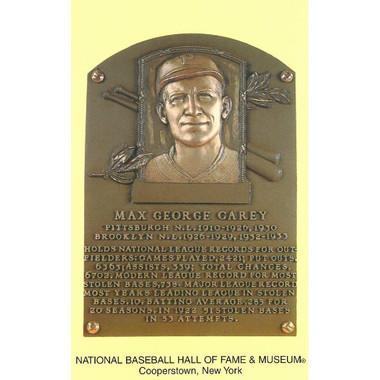 Max Carey Baseball Hall of Fame Plaque Postcard