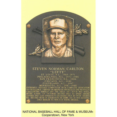 Steve Carlton Baseball Hall of Fame Plaque Postcard