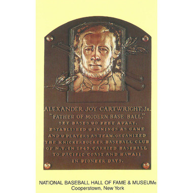 Alexander Cartwright Baseball Hall of Fame Plaque Postcard