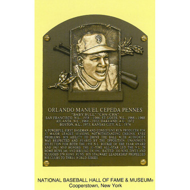 Orlando Cepeda Baseball Hall of Fame Plaque Postcard