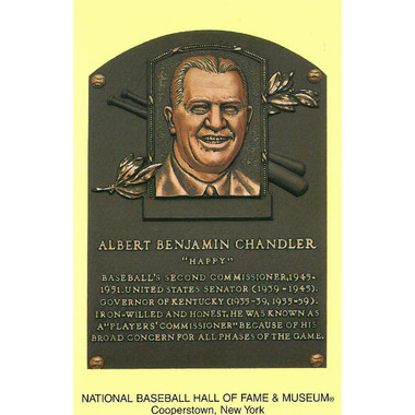 Happy Chandler Baseball Hall of Fame Plaque Postcard