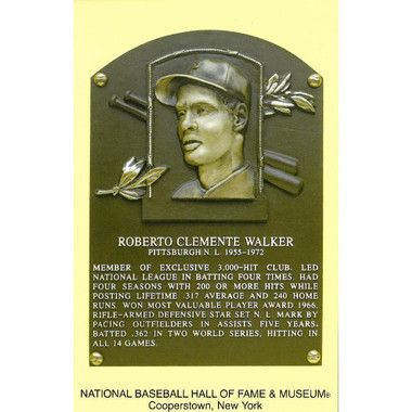 Roberto Clemente Baseball Hall of Fame Plaque Postcard