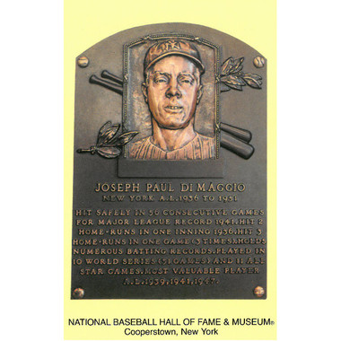 Joe DiMaggio Baseball Hall of Fame Plaque Postcard
