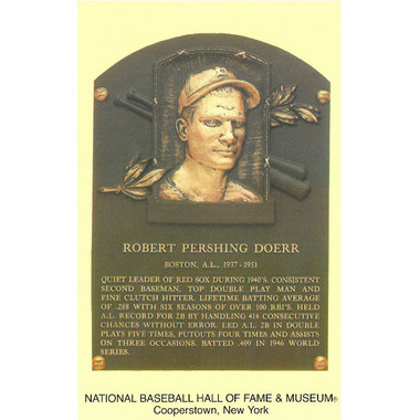 Bobby Doerr Baseball Hall of Fame Plaque Postcard