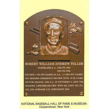 Bob Feller Baseball Hall of Fame Plaque Postcard