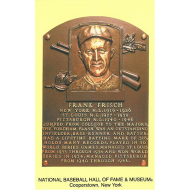 Frankie Frisch Baseball Hall of Fame Plaque Postcard