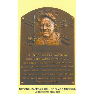 Lou Gehrig Baseball Hall of Fame Plaque Postcard