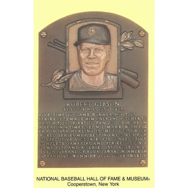 Bob Gibson Baseball Hall of Fame Plaque Postcard