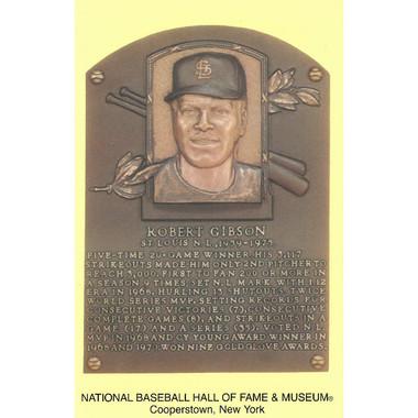 Bob Gibson Baseball Hall of Fame Plaque Postcard
