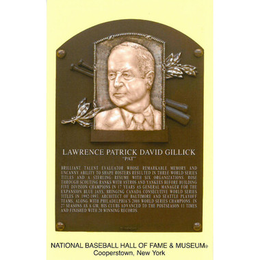 Pat Gillick Baseball Hall of Fame Plaque Postcard