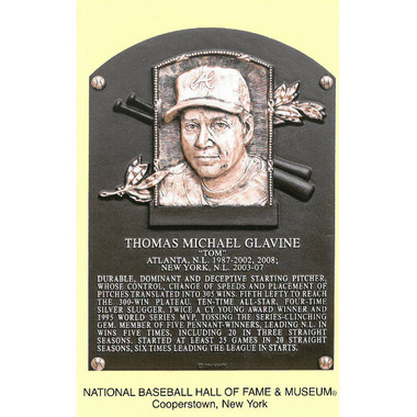 Tom Glavine Baseball Hall of Fame Plaque Postcard