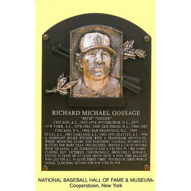 Goose Gossage Baseball Hall of Fame Plaque Postcard