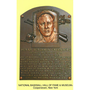 Hank Greenberg Baseball Hall of Fame Plaque Postcard