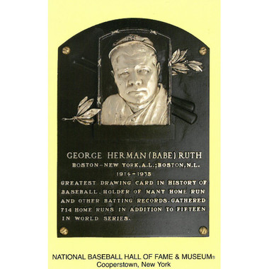 Babe Ruth Baseball Hall of Fame Plaque Postcard