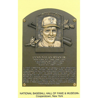 Nolan Ryan Baseball Hall of Fame Plaque Postcard