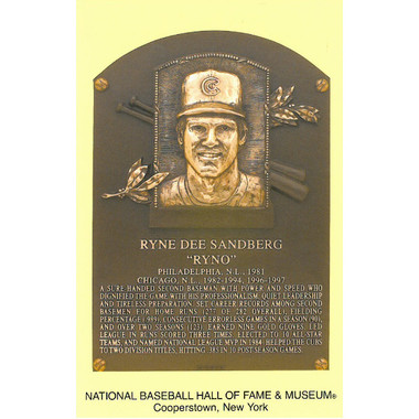 Ryne Sandberg Baseball Hall of Fame Plaque Postcard