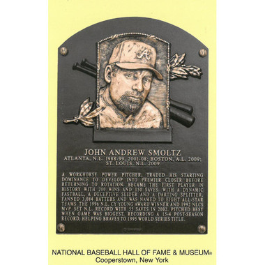 John Smoltz Baseball Hall of Fame Plaque Postcard