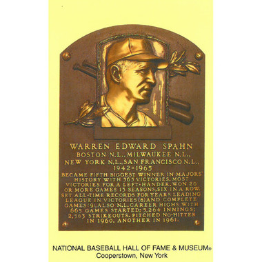 Warren Spahn Baseball Hall of Fame Plaque Postcard