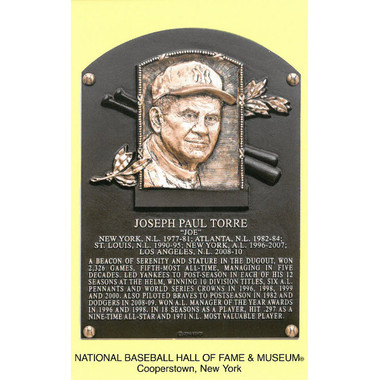 Joe Torre Baseball Hall of Fame Plaque Postcard