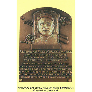 Dazzy Vance Baseball Hall of Fame Plaque Postcard