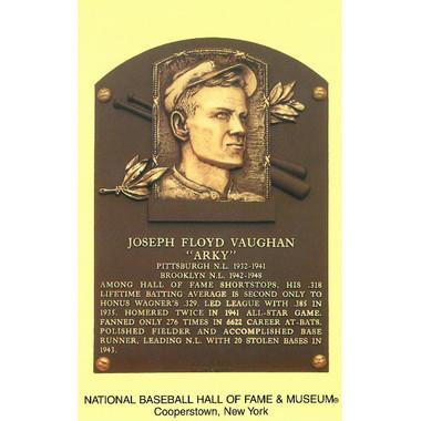 Arky Vaughan Baseball Hall of Fame Plaque Postcard