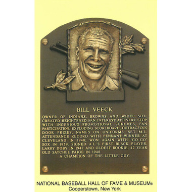 Bill Veeck Baseball Hall of Fame Plaque Postcard
