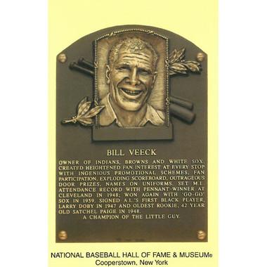 Bill Veeck Baseball Hall of Fame Plaque Postcard