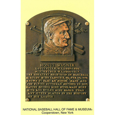 Honus Wagner Baseball Hall of Fame Plaque Postcard