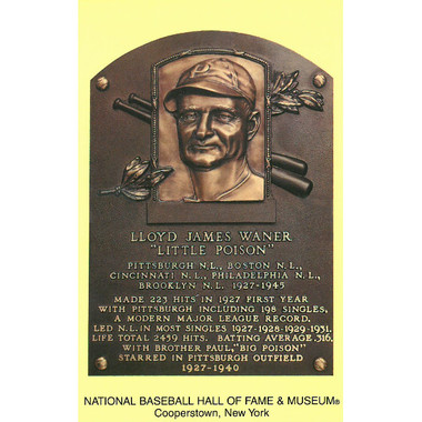 Lloyd Waner Baseball Hall of Fame Plaque Postcard