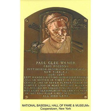 Paul Waner Baseball Hall of Fame Plaque Postcard