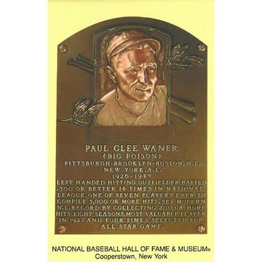 Paul Waner Baseball Hall of Fame Plaque Postcard