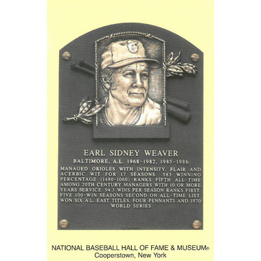 Earl Weaver Baseball Hall of Fame Plaque Postcard