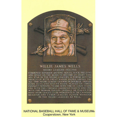 Willie Wells Baseball Hall of Fame Plaque Postcard