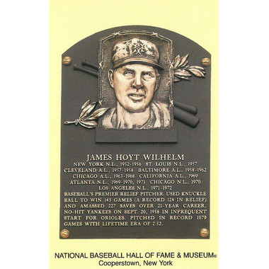 Hoyt Wilhelm Baseball Hall of Fame Plaque Postcard