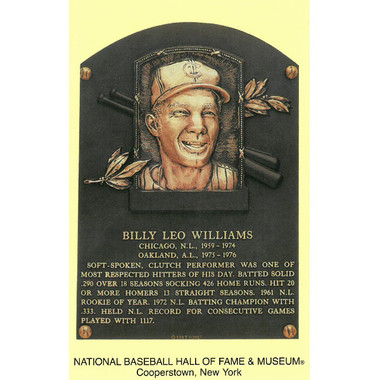 Billy Williams Baseball Hall of Fame Plaque Postcard
