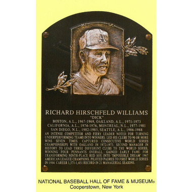 Dick Williams Baseball Hall of Fame Plaque Postcard